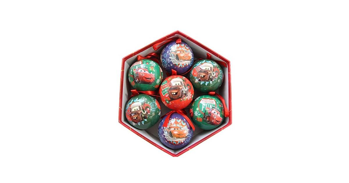 Set van 7 onbreekbare kerstballen in Luxe box - Cars II
