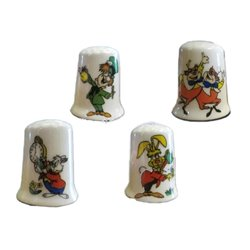 4Dlg Set Vingerhoedjes - Mad Hatter, White Rabbit, Tweedledee- en Dum, Rabbit ZGAN