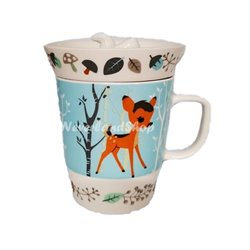 Forest Friends Mug with Lid/Coaster - Bambi