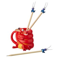 Pencil Holder and Pencils Set - Mushu & Cri-Kee