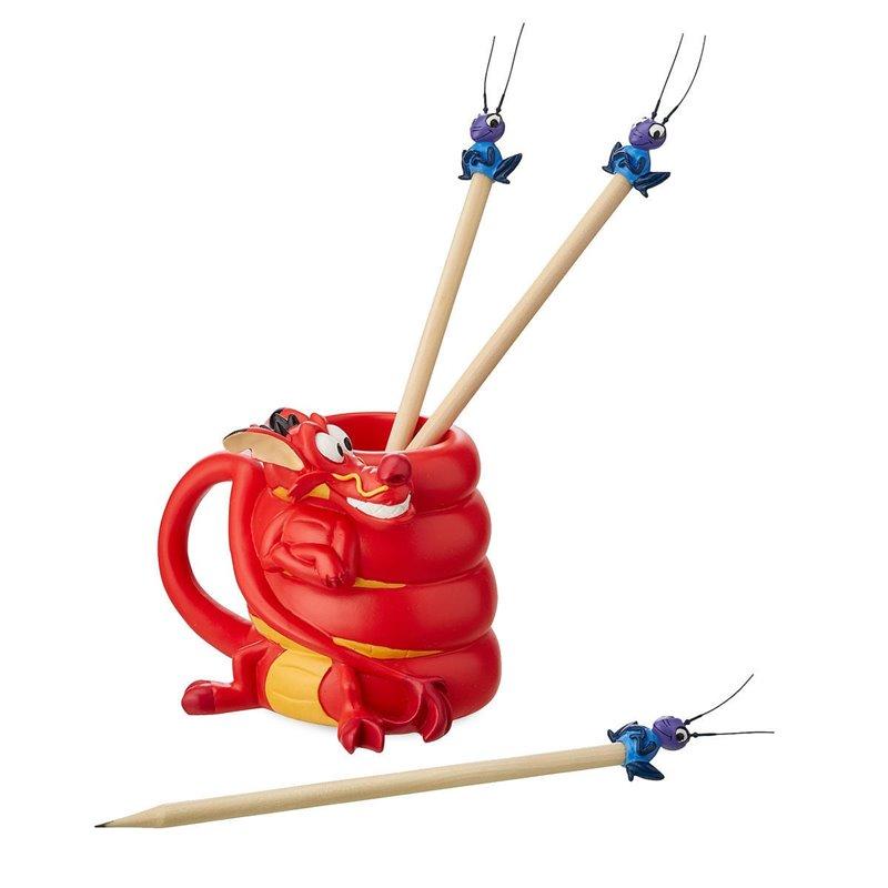 Pencil Holder and Pencils Set - Mushu & Cri-Kee