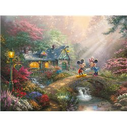 Thomas Kinkade Sweetheart Bridge - Mickey & Minnie