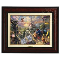 Thomas Kinkade Framed Falling in Love - Beauty & the Beast