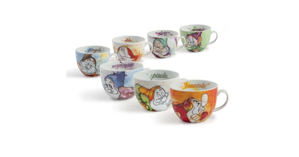Set of 7 Cappuccino Mugs - 7 Dwarfs