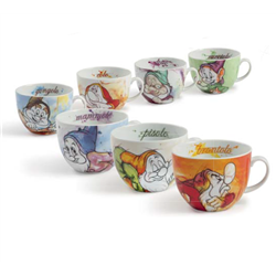 Set of 7 Cappuccino Mugs - 7 Dwarfs