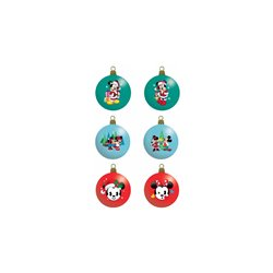 9056 Set of 6 Glass Ornaments - Mickey & Minnie