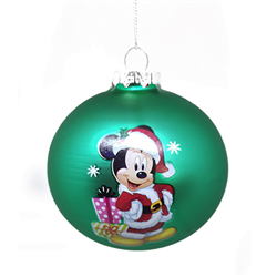 9056 Set of 2 Glass Ornaments - Mickey & Minnie