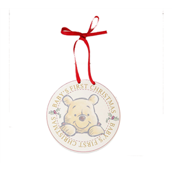 1st Christmas Round Plaque - Pooh