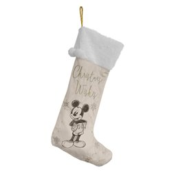 White & Gold Velveteen Christmas Stocking - Mickey