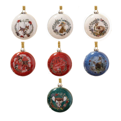 Set of 7 Glitter Baubles Enchanted Forest  - Bambi