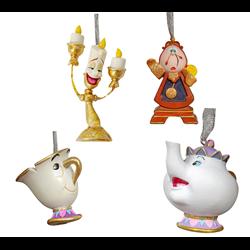 Set of 4 3D Ornamenten - Beauty & The Beast