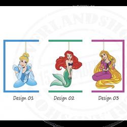 9062 Relief Ornament - Cinderella, Ariel & Rapunzel