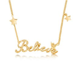 14kt Pave Crystal Believe Necklace - Tinker Bell