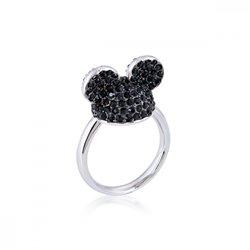 Black Crystal Ears Hat Ring - Mickey