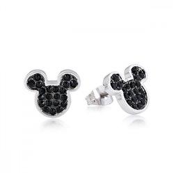 Black Crystal Face Earrings - Mickey