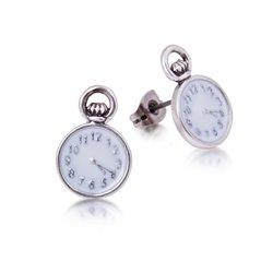Pocket Watch Clock Earrings - Alice in Wonderland