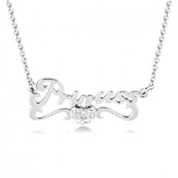 Princess Pendant with Crystals Necklace