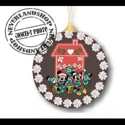 9308 Glass Ornament Disc - Mickey & Minnie