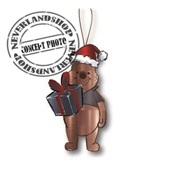 9329 Metal Ornament with Gift - Pooh