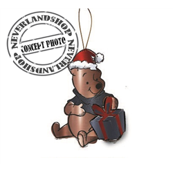 9331 Metal Ornament with Gift Sitting - Pooh