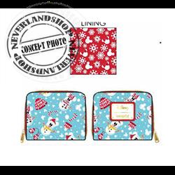 Loungefly Zip Around Wallet Snowman - Mickey & Minnie