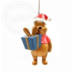 9305 Metal Ornament with Gift - Pooh