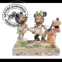 Disney Traditions White Woodland Springtime Stroll - Mickey, Minnie & Pluto