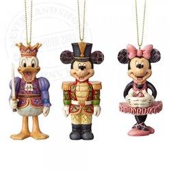 Disney Traditions Set of 3 Nutcracker Ornaments - Mickey, Minnie & Donald