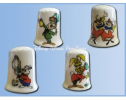 4Dlg Set Vingerhoedjes - Alice in Wonderland in Wonderland - Mad Hatter, White Rabbit, Tweedledee- en Dum, Rabbit ZGAN