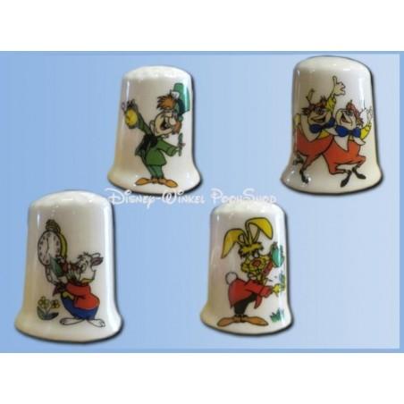 4Dlg Set Vingerhoedjes - Alice in Wonderland in Wonderland - Mad Hatter, White Rabbit, Tweedledee- en Dum, Rabbit ZGAN