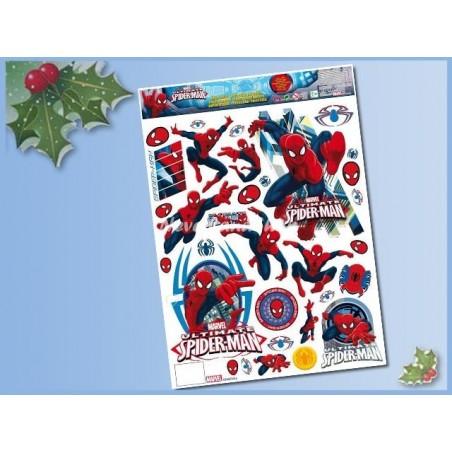 Raamstickers kerst 42x30cm - Spiderman